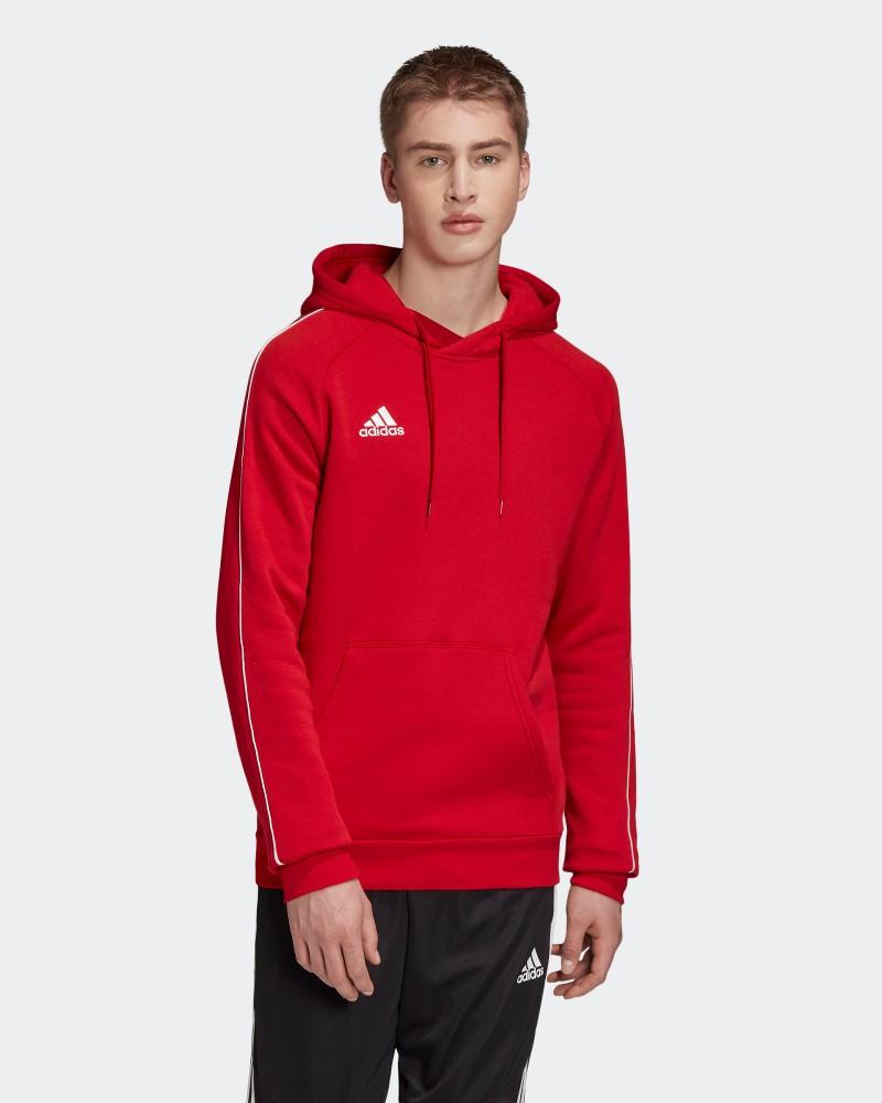 Adidas Felpa Cappuccio Hoodie Pullover Rosso Core 18 Con tasche Uomo cotone 0