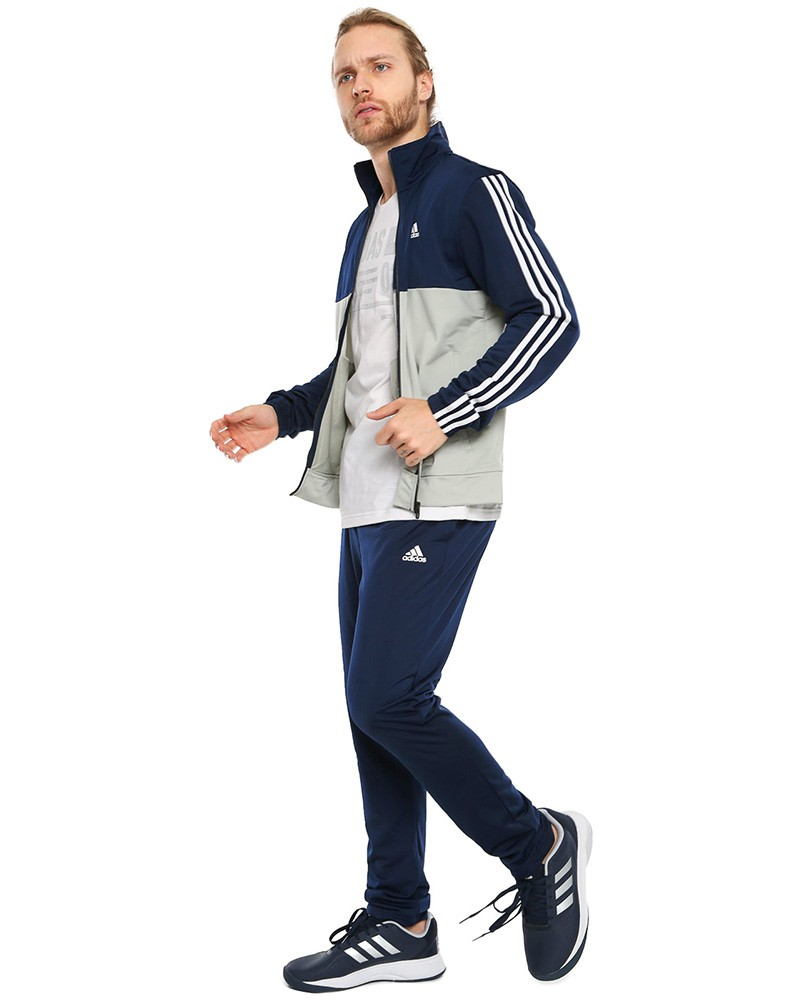 Adidas Tuta Allenamento Training Back 2 basics 3 Stripes Grigio Blu 0