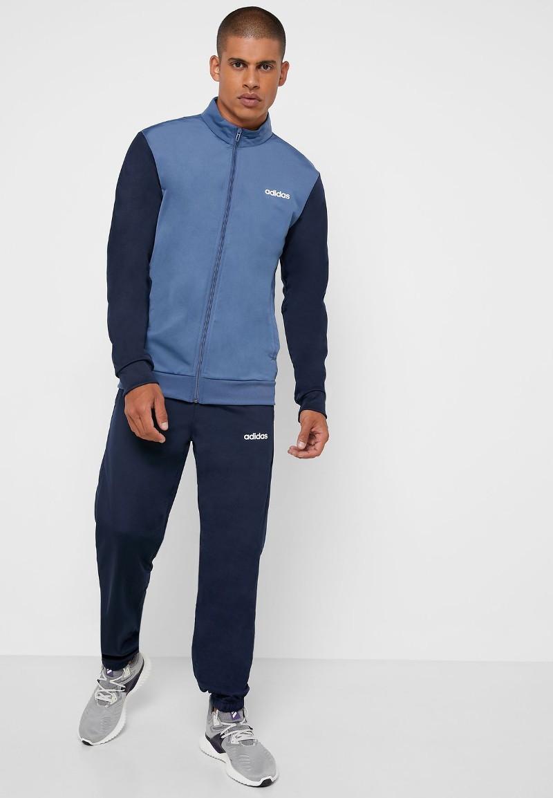Adidas Tuta Sportiva sport Tracksuit MTS LIN TRIC Blu con tasche Sportswear 0