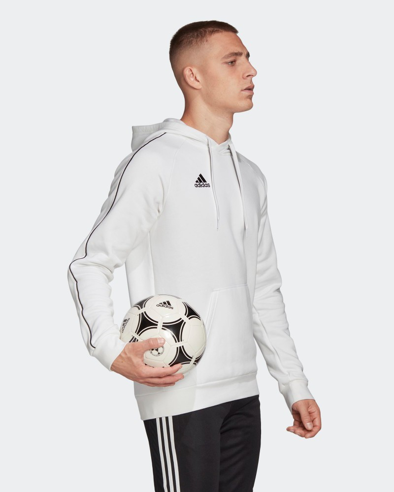 Adidas Felpa Cappuccio Hoodie Pullover Core 18 Bianco Cotone Uomo con tasche 0
