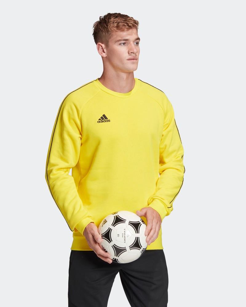 Adidas Core 18 Felpa Sportiva Girocollo Crew Uomo Giallo Cotone 0