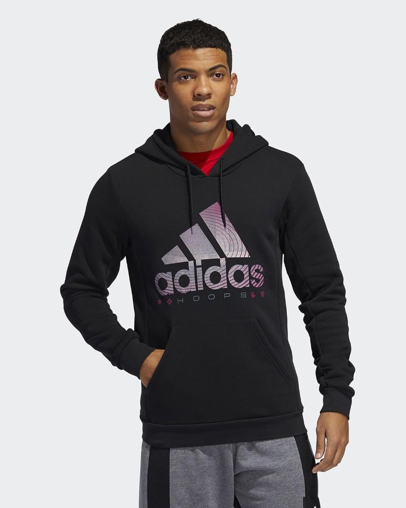 Adidas Felpa Cappuccio Hoodie Cappuccio Nero Cotone BOS HOOPS con tasche Uomo 0
