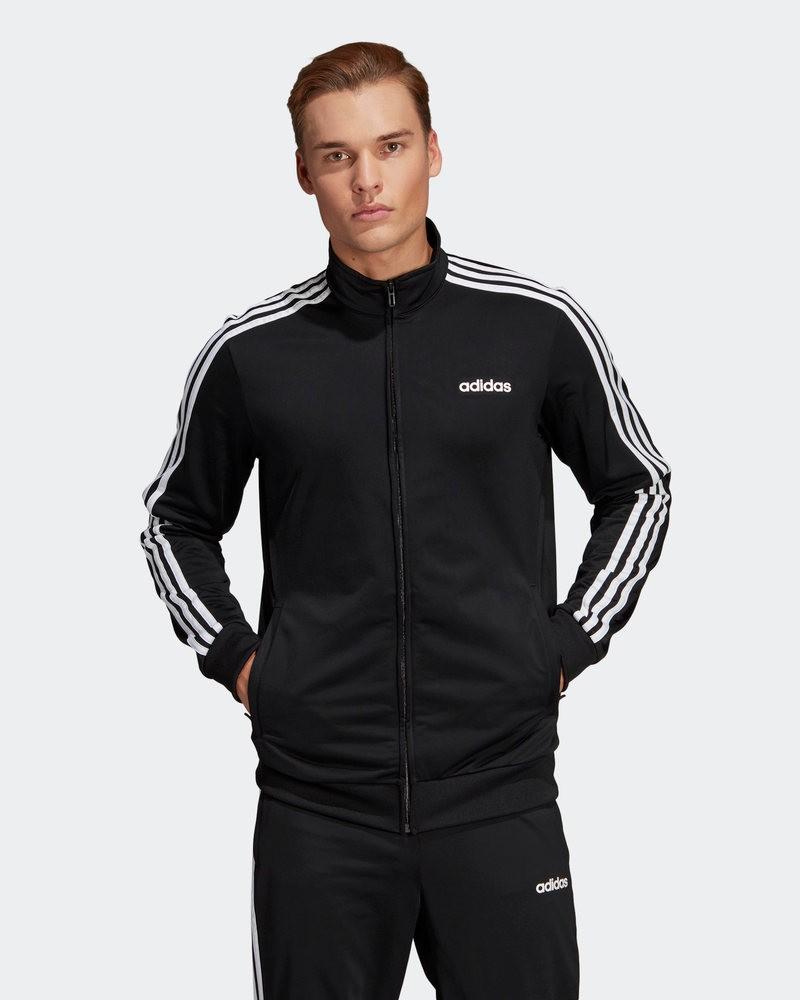 Adidas ESSENTIALS 3-STRIPES TRICOT TRACK Giacca Tuta Sportiva Uomo Nero 0