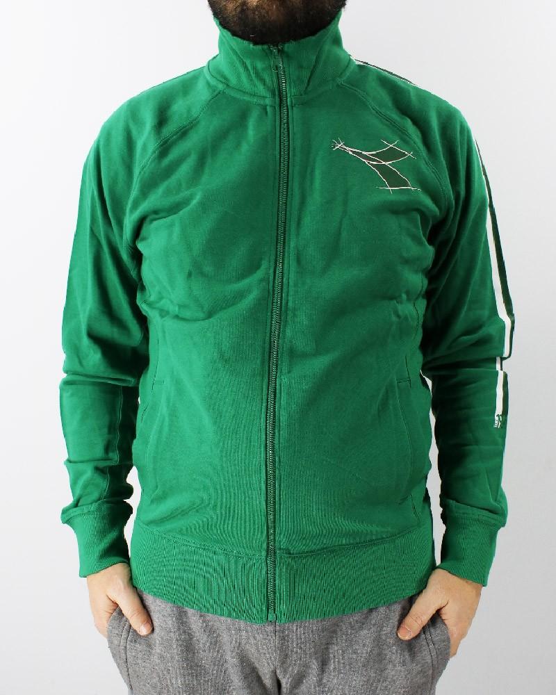 Diadora Giacca Sportiva Verde FZ Sweat Fregio Tasche senza zip cotone leggero 0