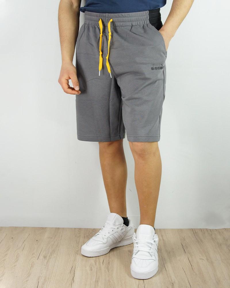 Diadora Pantaloncini Shorts Grigio Cotone Garzato Bermuda Club con tasche Uomo 0
