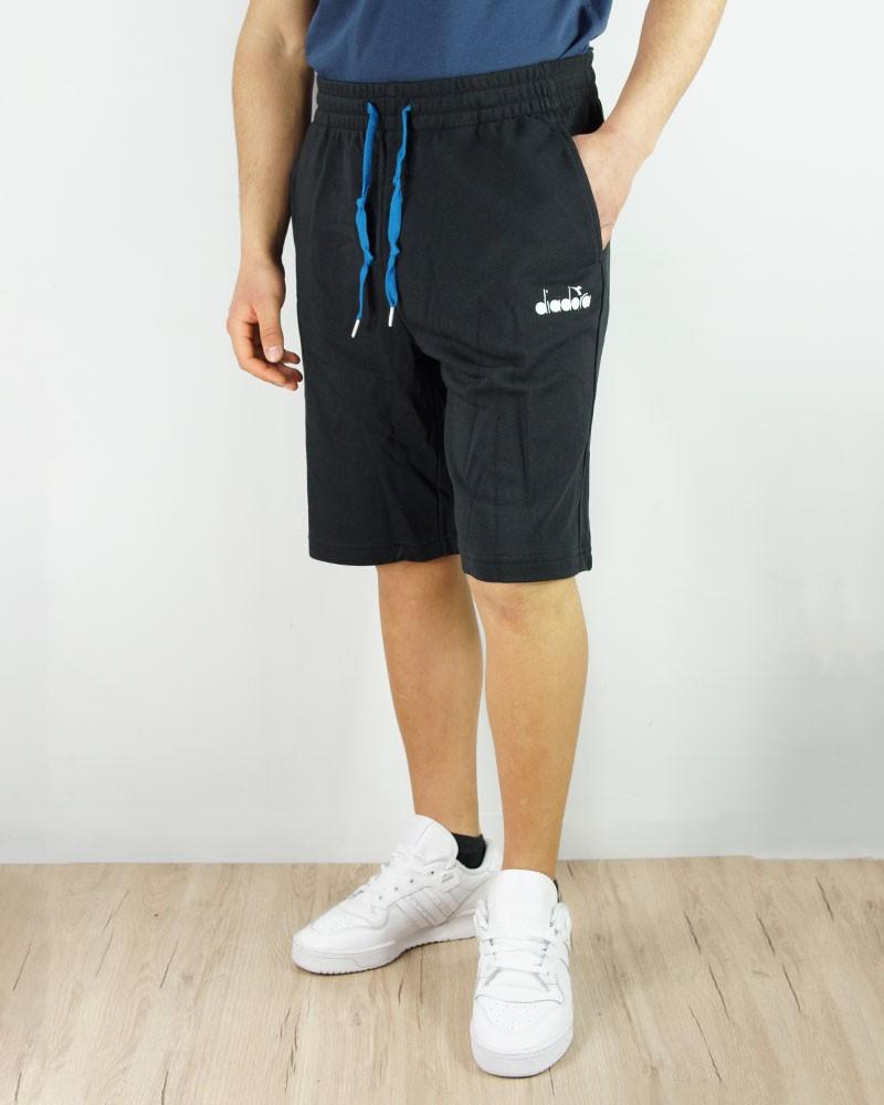 Diadora Pantaloncini Shorts Bermuda Club Nero Cotone Garzato 0