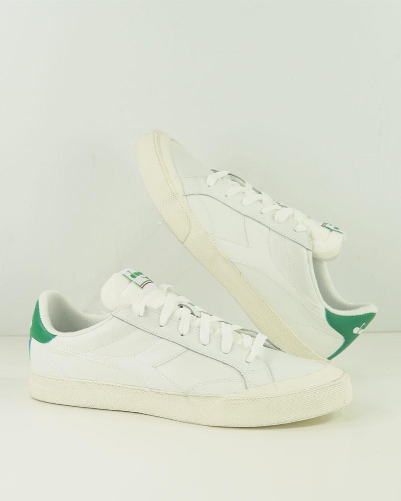 Diadora Scarpe Sneakers Bianco Verde Melody Leather Dirty Vera pelle Uomo 0