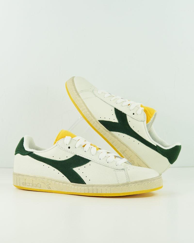 Diadora Scarpe Sneakers Uomo Bianco Verde GAME L LOW Icona Vera pelle 0