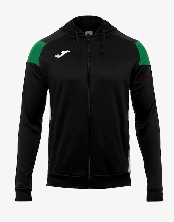 Joma HOODIE POLY CREW III Giacca Tuta Sportiva Uomo Sportswear con tasche -Nero Verde 1040