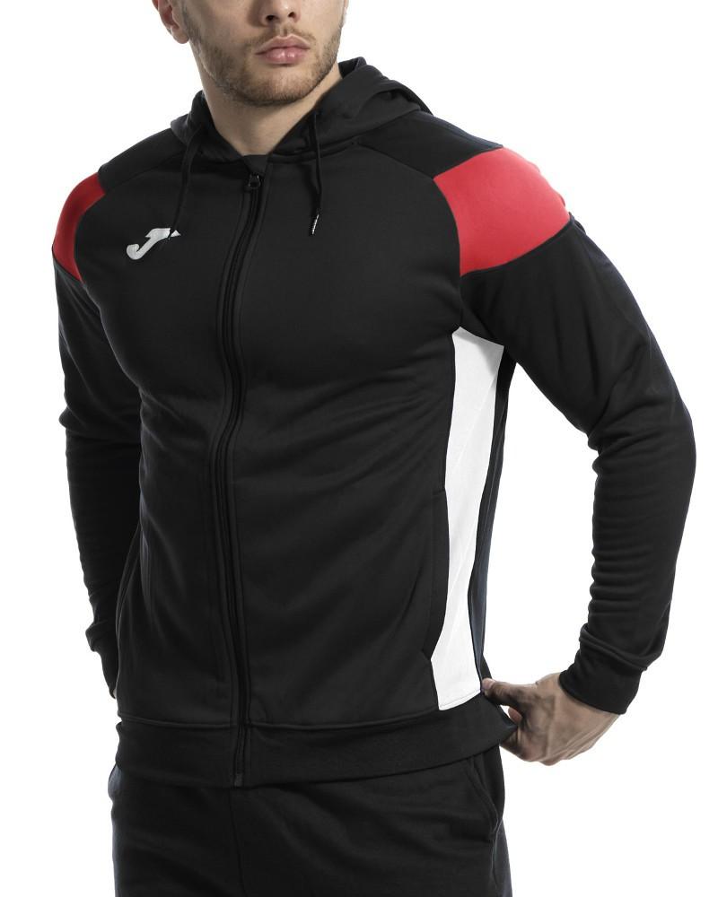 Joma HOODIE POLY CREW III Giacca Tuta Sportiva Uomo Sportswear con tasche -Nero Rosso 1060