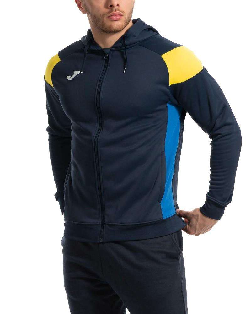 Joma HOODIE POLY CREW III Giacca Tuta Sportiva Uomo Sportswear con tasche -Blu Giallo 3390
