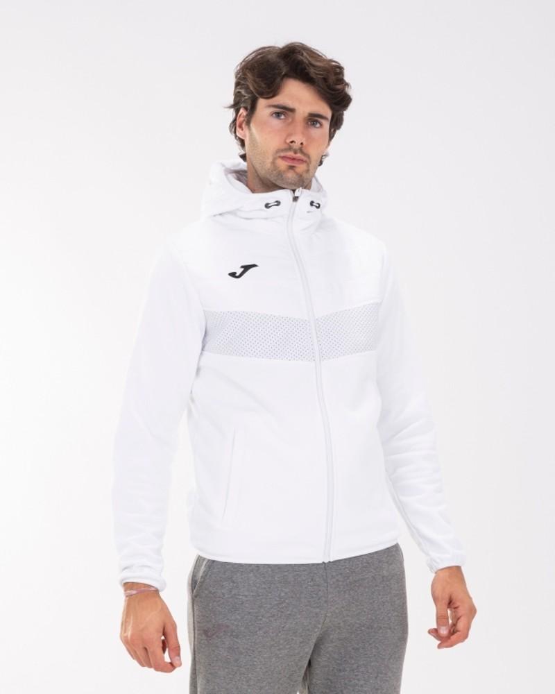 Joma Berna 2 Giacca Sportiva Light jacket Uomo con TASCHE a ZIP Cappuccio -Bianco - 2000