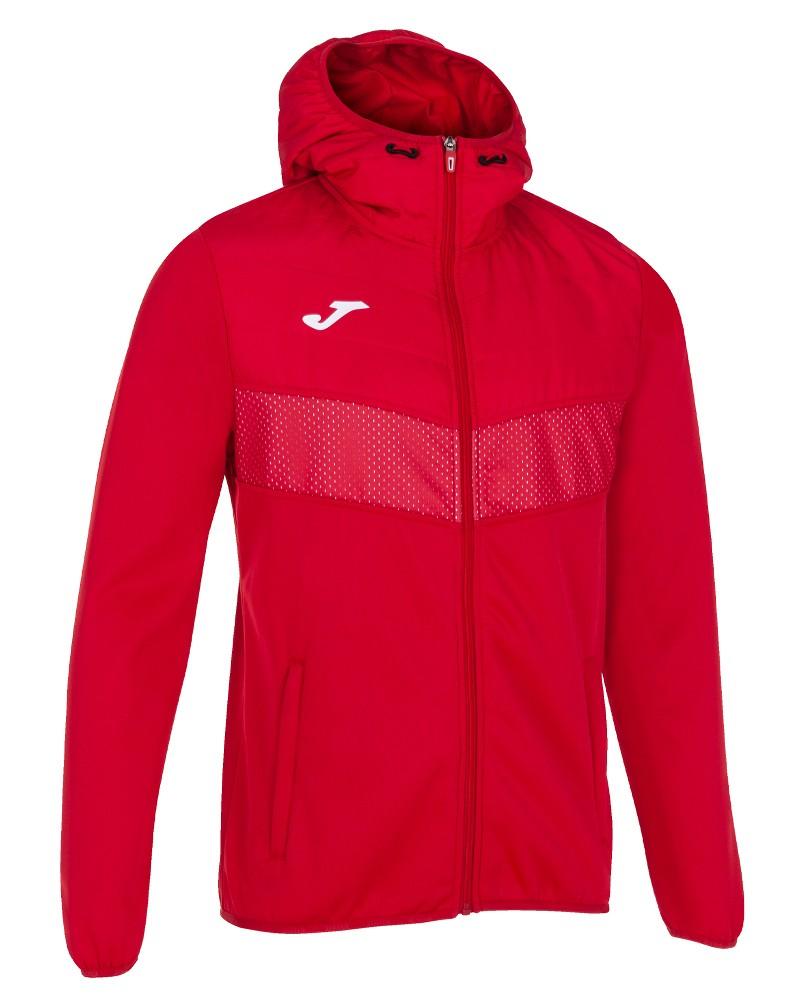 Joma Berna 2 Giacca Sportiva Light jacket Uomo con TASCHE a ZIP Cappuccio -Rosso - 6000