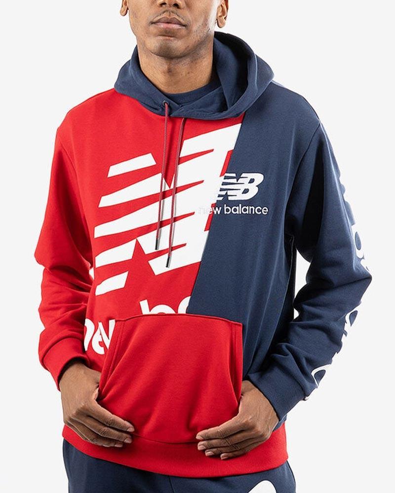 New Balance Felpa Cappuccio Hoodie Uomo Athletics Splice Rosso Blu Cotone 0