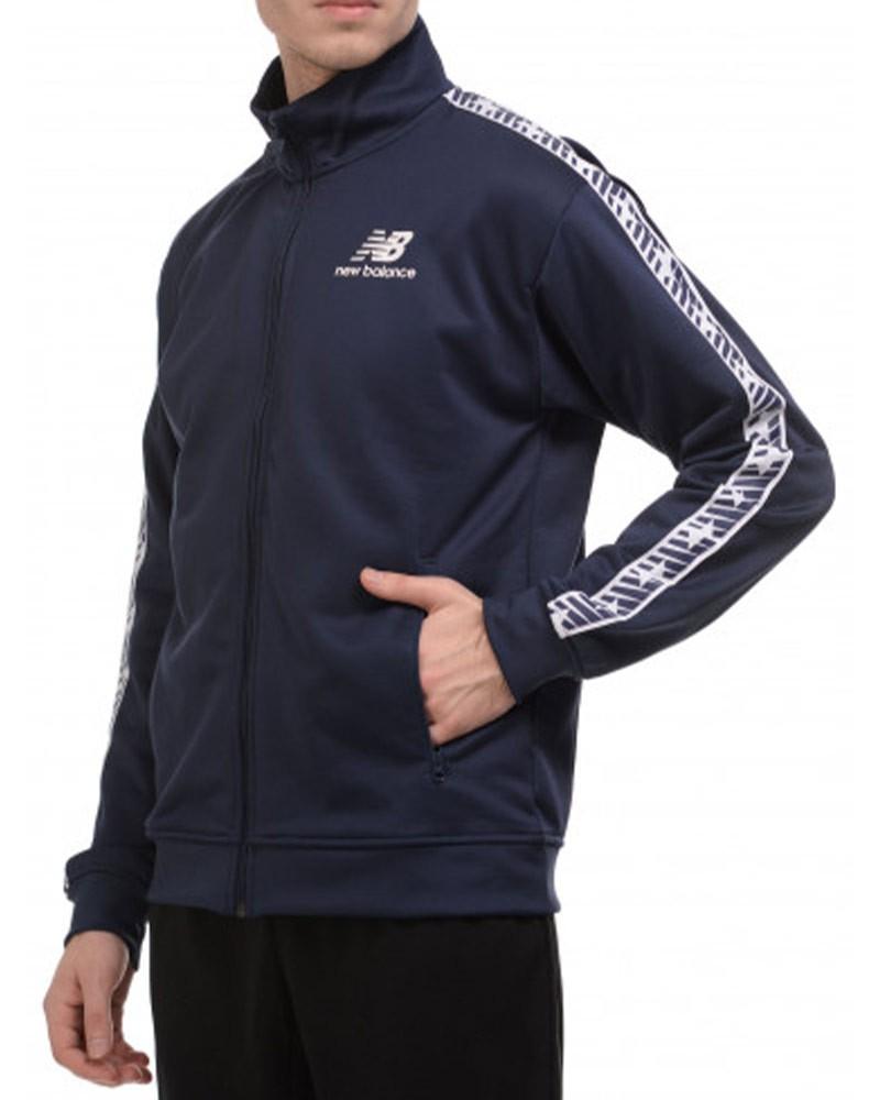 New Balance Essentials Track Banda Giacca Tuta Sportiva Uomo Blu tasche con zip 0