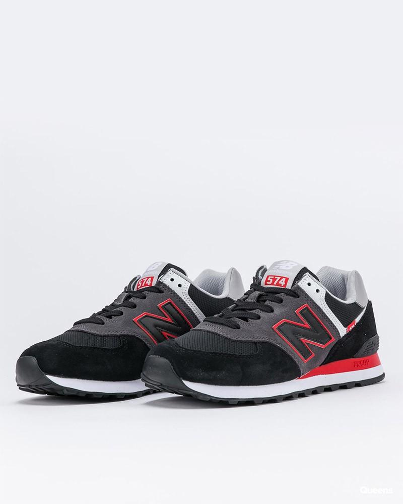New Balance 574 Scarpe Sportive Sneakers SM2 Uomo Nero Rosso Suede Mesh 0