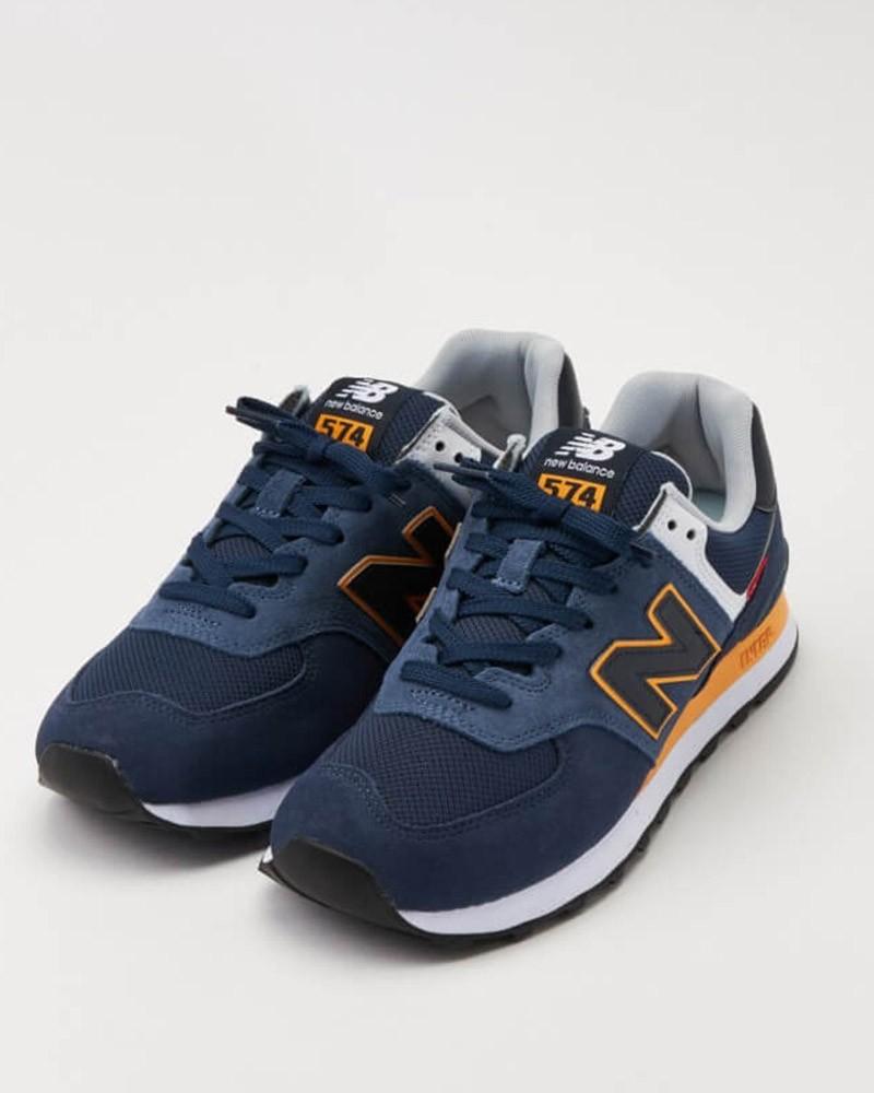 New Balance 574 Scarpe Sneakers SY2 Blu Giallo Suede Mesh 0