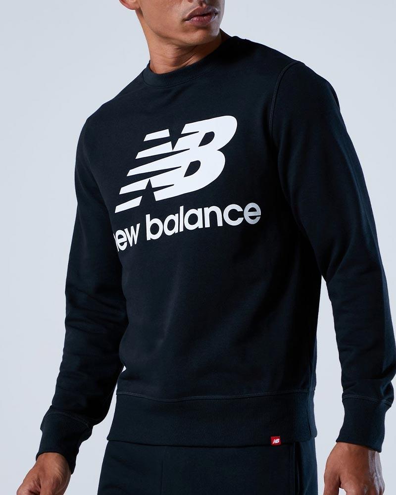 New Balance Essentials Stacked Logo Crew Felpa Sportiva Girocollo Uomo Nero 0