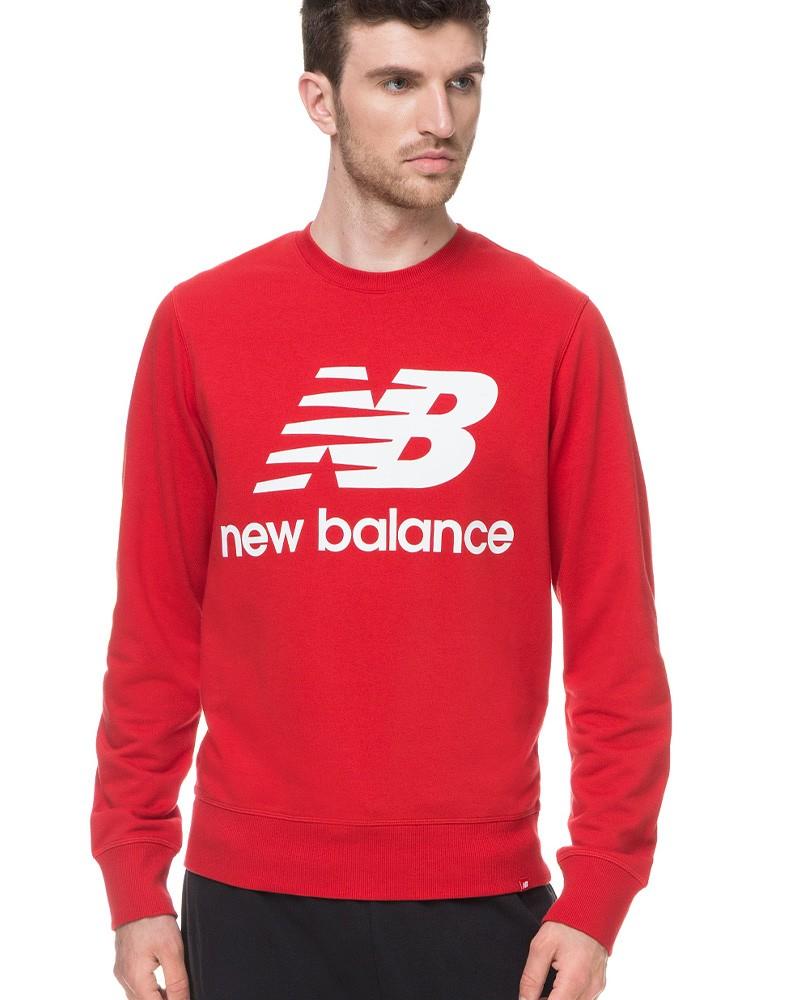 New Balance Essentials Stacked Logo Crew Felpa Sportiva Girocollo Uomo Rosso 0