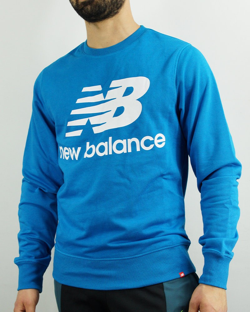 New Balance Essentials Stacked Logo Crew Felpa Sportiva Azzurro 2021 Uomo 0