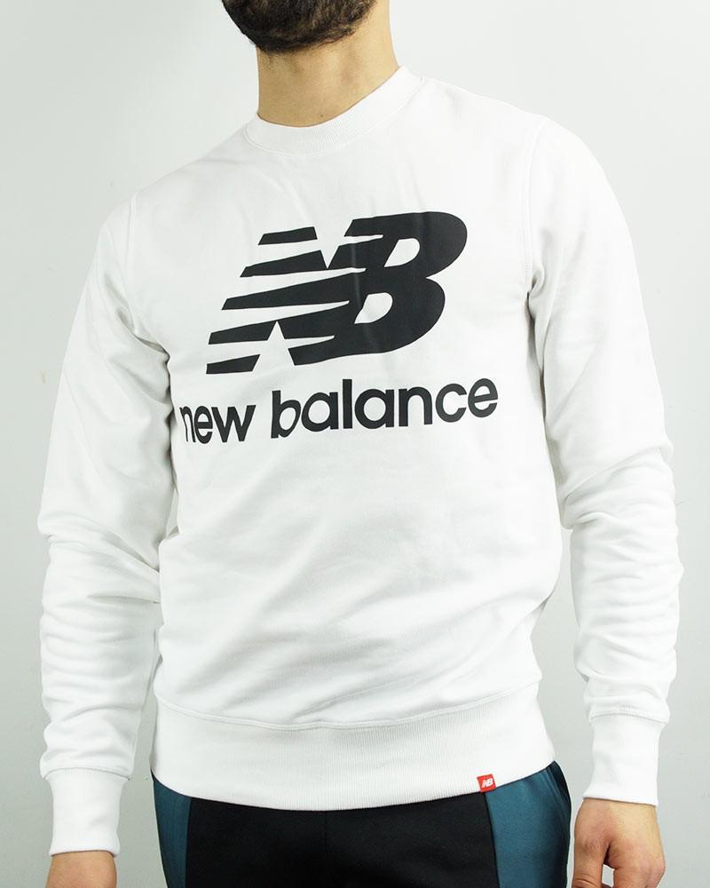 New Balance Essentials Stacked Logo Crew Felpa Sportiva Girocollo Uomo Bianco 0