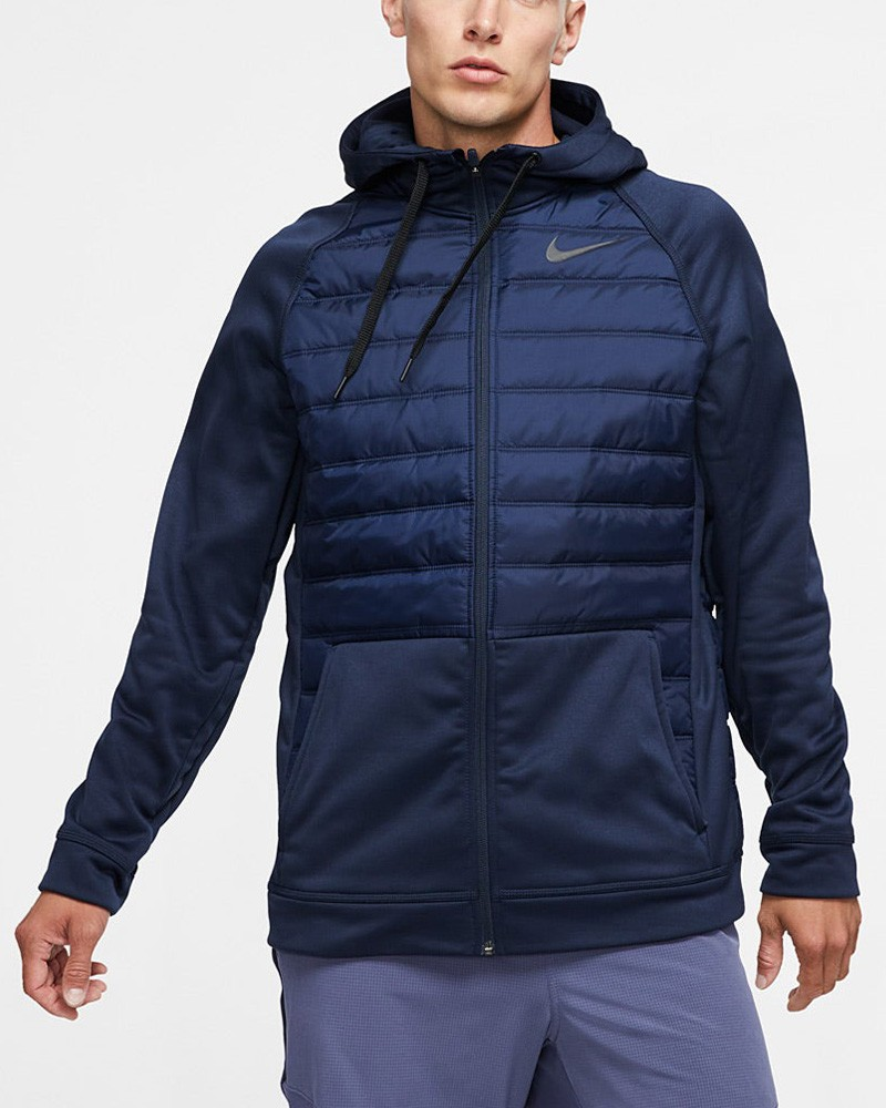 Nike Giacca Sportiva Therma Hoodie Uomo Blu tasche con zip 0