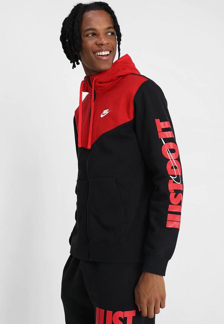 Nike Giacca Sportiva Felpa JDI Full Zip con tasche cotone felpato -Nero Rosso - 0110