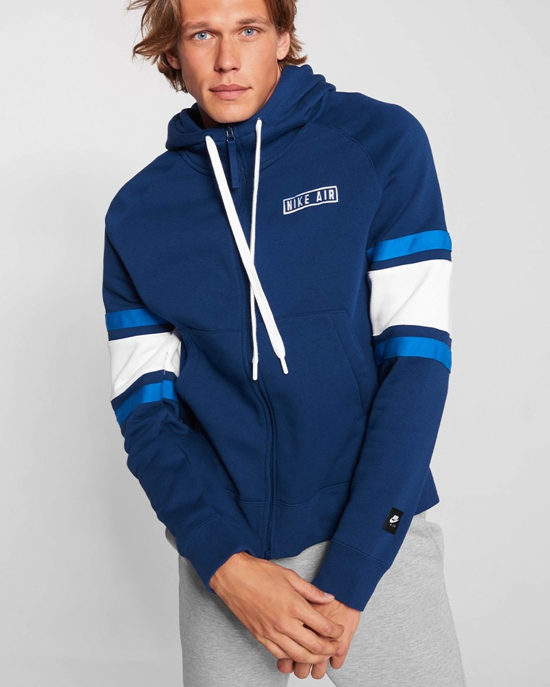 Nike Air Fleece FZ HD Giacca Sportiva Felpa Uomo Blu Cotone 0