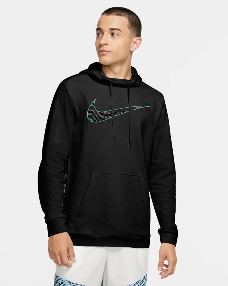 Nike Felpa Cappuccio Hoodie Uomo printed Swoosh Training Nero Cotone 0