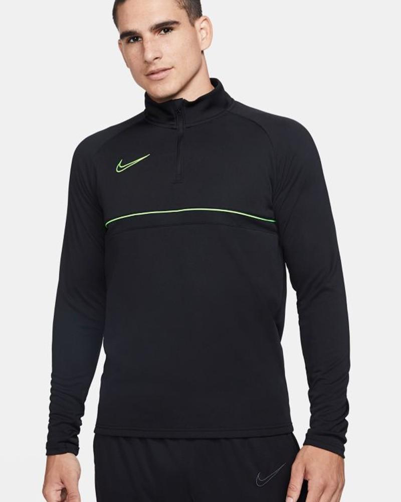 Nike Dril Top Felpa Allenamento Training Sweatshirt Nero Verde Uomo 2021 0
