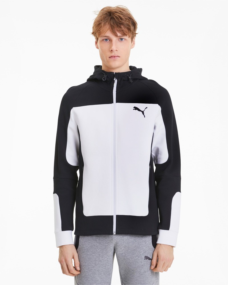 Puma Evostripe Hoodie Giacca Sportiva Bianco 2020 21 tasche con zip Uomo Cotone