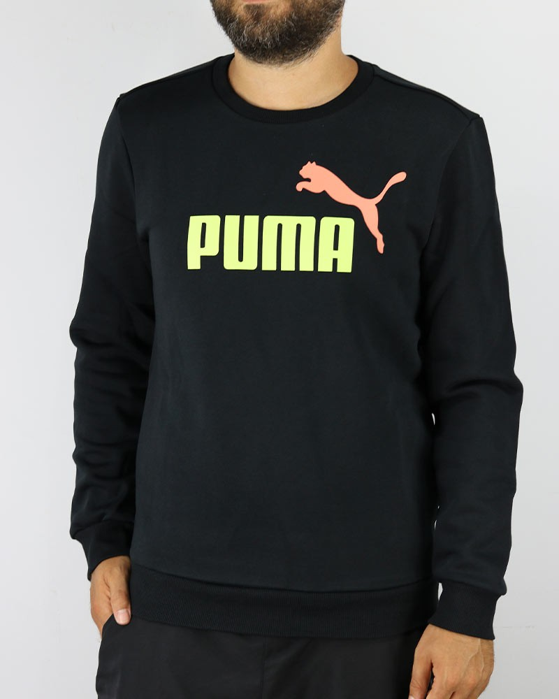 Puma Felpa sportiva Girocollo Essential 2 Col Crew Sweat FL Big Logo Nero 2020 0