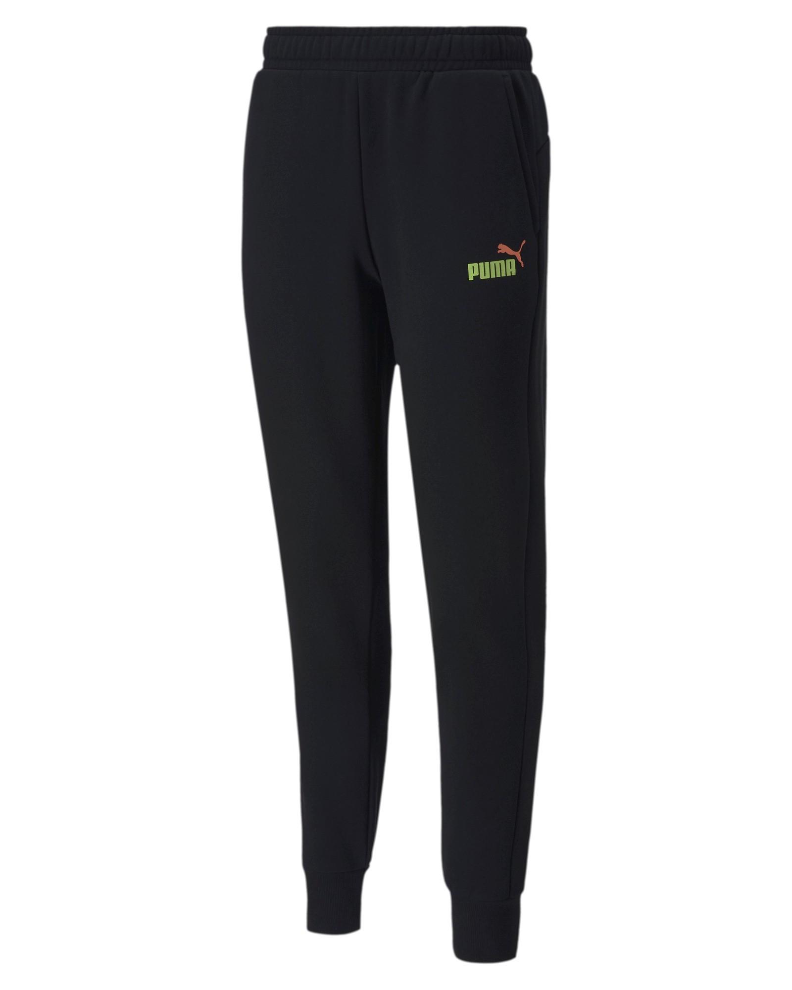 Puma Pantaloni tuta Pants Nero cotone ESS 2 Col Logo Fleece con tasche Uomo 0