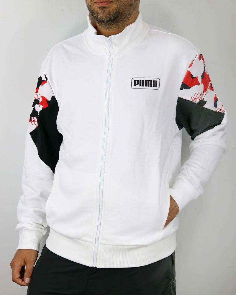 Puma Rebel FZ Giacca Tuta felpa Sportiva Uomo Bianco 2020 21 con tasche 0