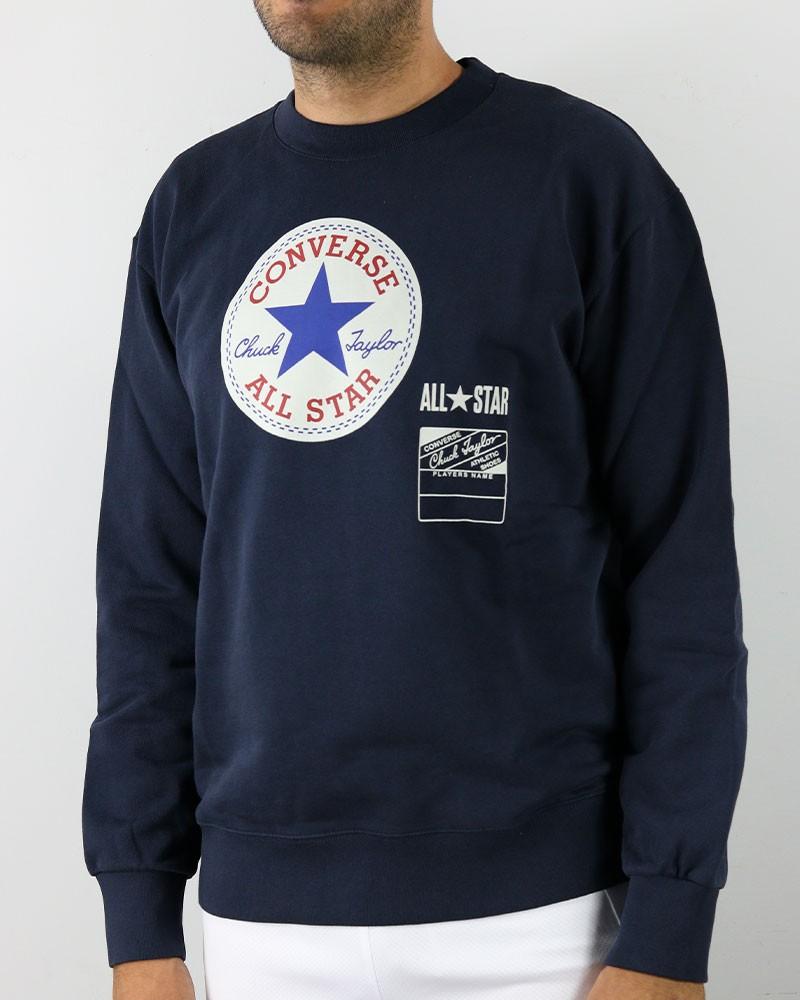 Converse all star Felpa sportiva girocollo Fleece Crew Chuck A Blu Cotone Uomo 0