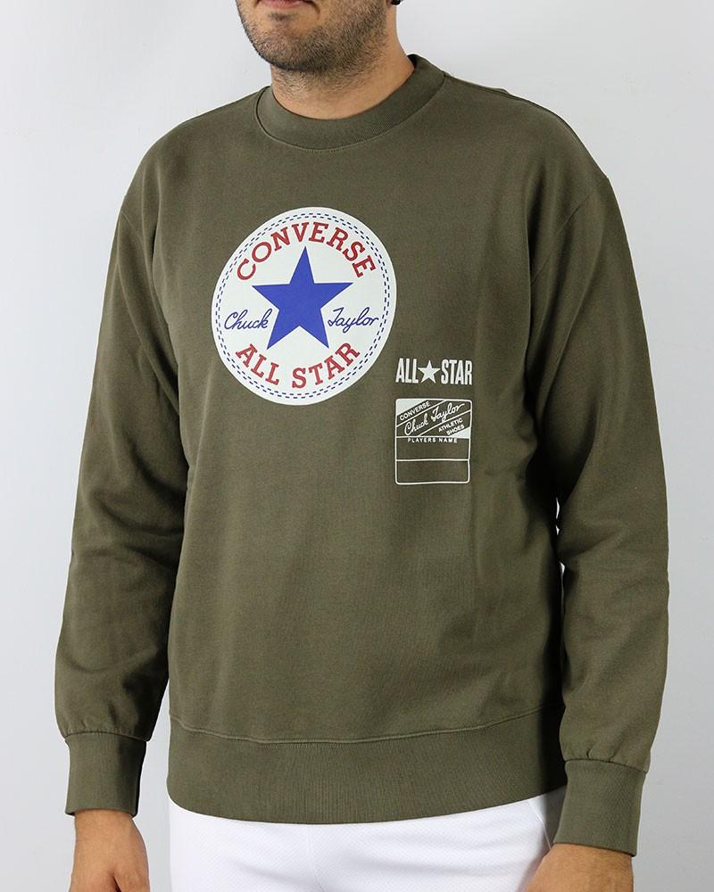 Converse All Star Felpa sportiva girocollo Fleece Crew Chuck A Verde Cotone 0