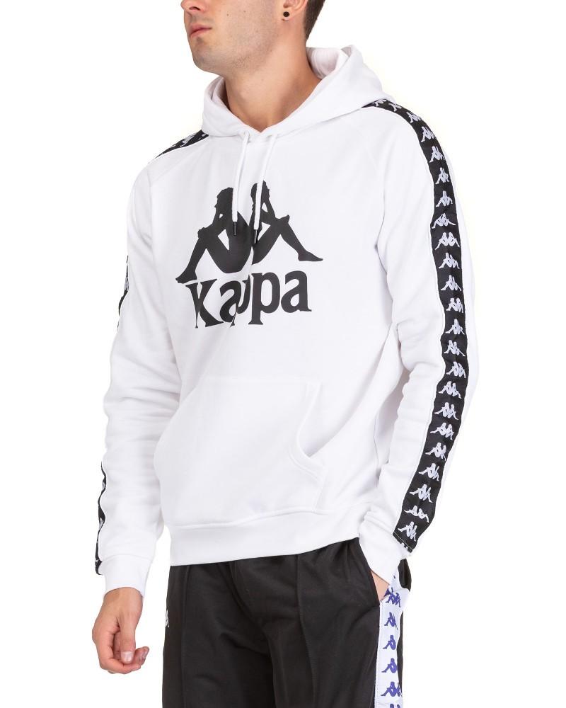 Kappa Banda 222 HURTADO Felpa Cappuccio Hoodie Pullover Bianco Uomo Cotone 0