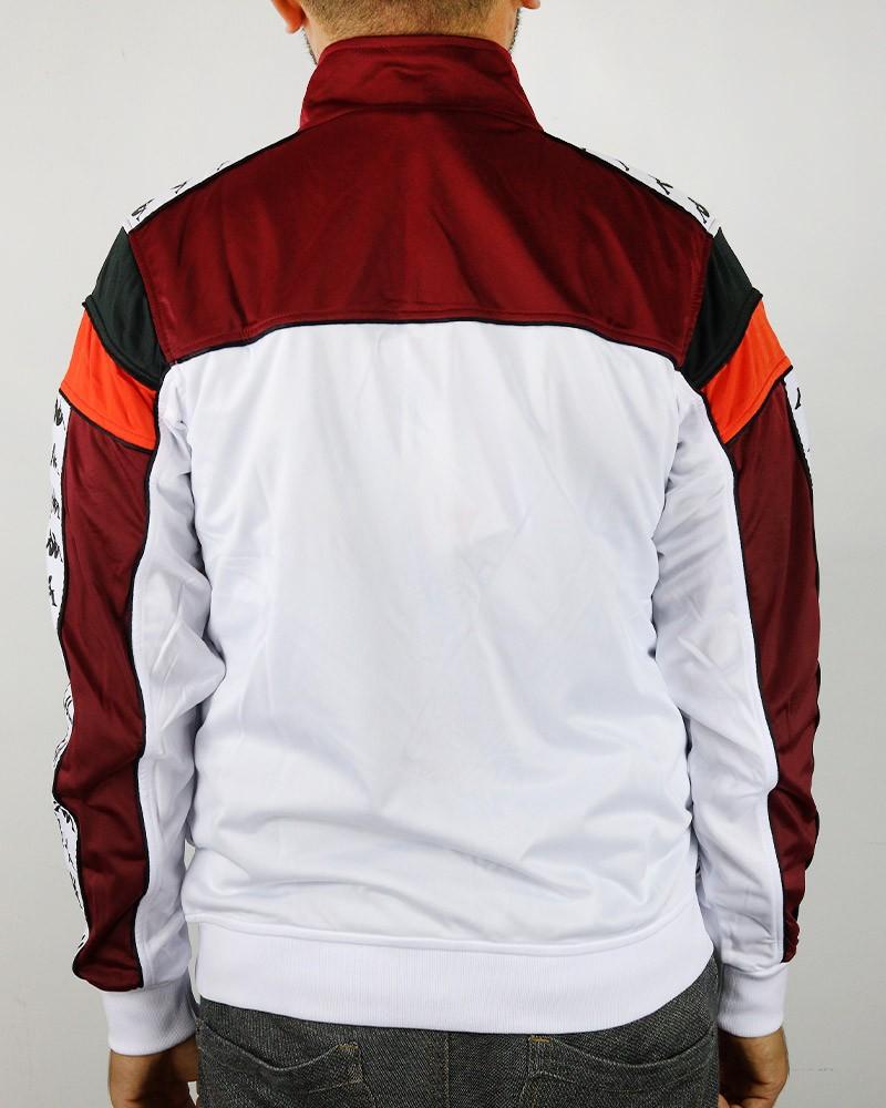 Kappa Banda 222 MEREZ Giacca Tuta Sportiva Bianco BY0 con tasche Uomo