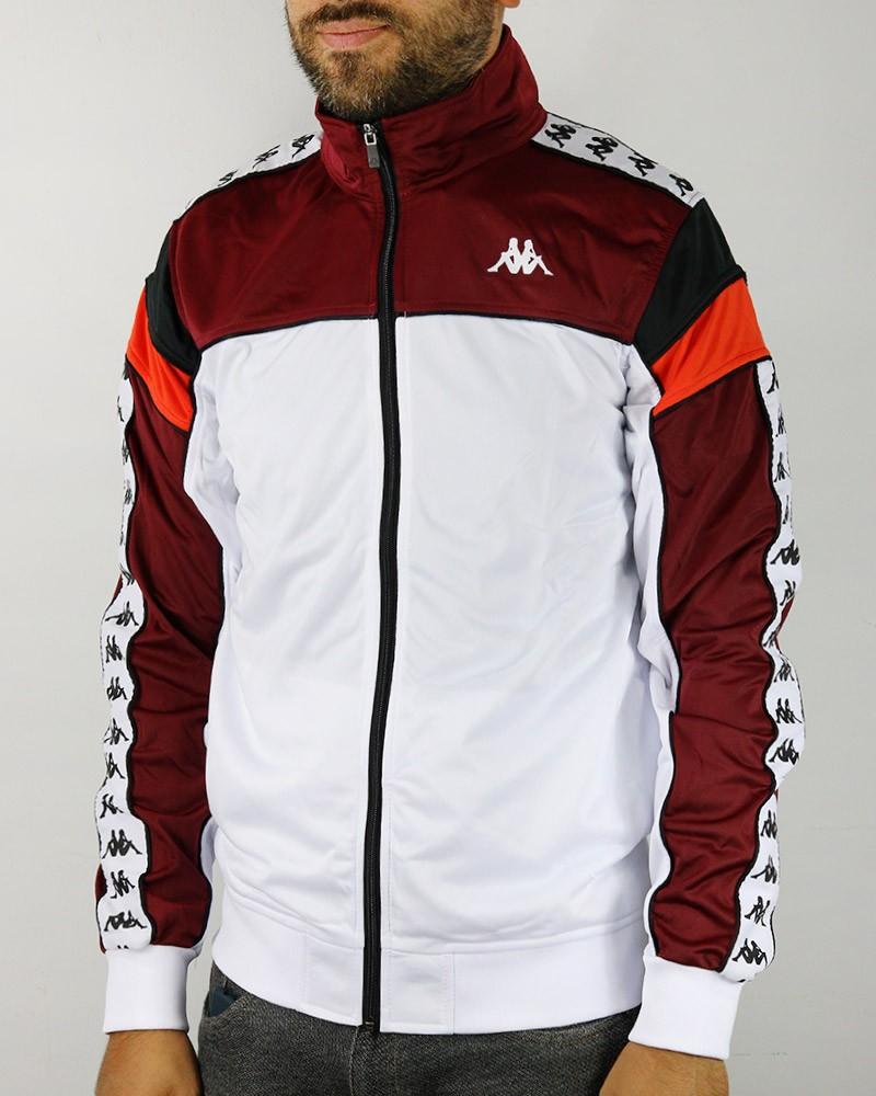 Kappa Banda 222 MEREZ Giacca Tuta Sportiva Bianco BY0 con tasche Uomo 0