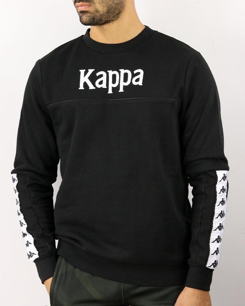Kappa Banda 222 DENAI Felpa Sportiva Girocollo pullover Nero Cotone Lifestyle 0