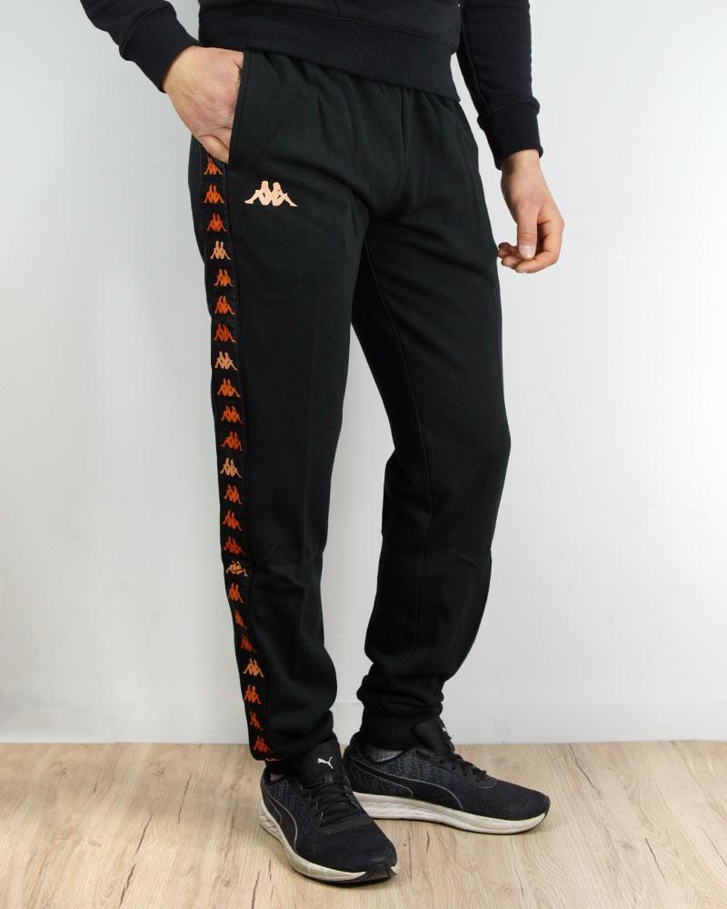 Kappa Banda 222 Pantaloni tuta Pants Nero Arancio Cotone french terry Uomo 0