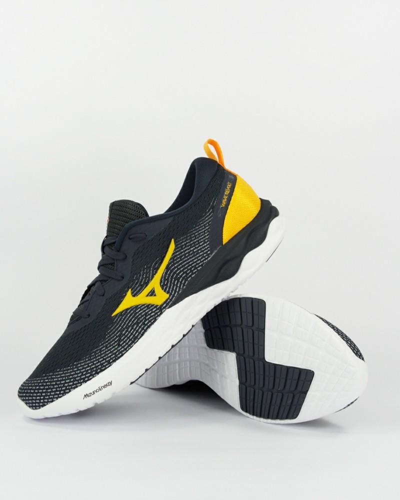Mizuno Scarpe da Corsa Running Sneakers Grigio Giallo Wave Revolt Uomo Tallone 0