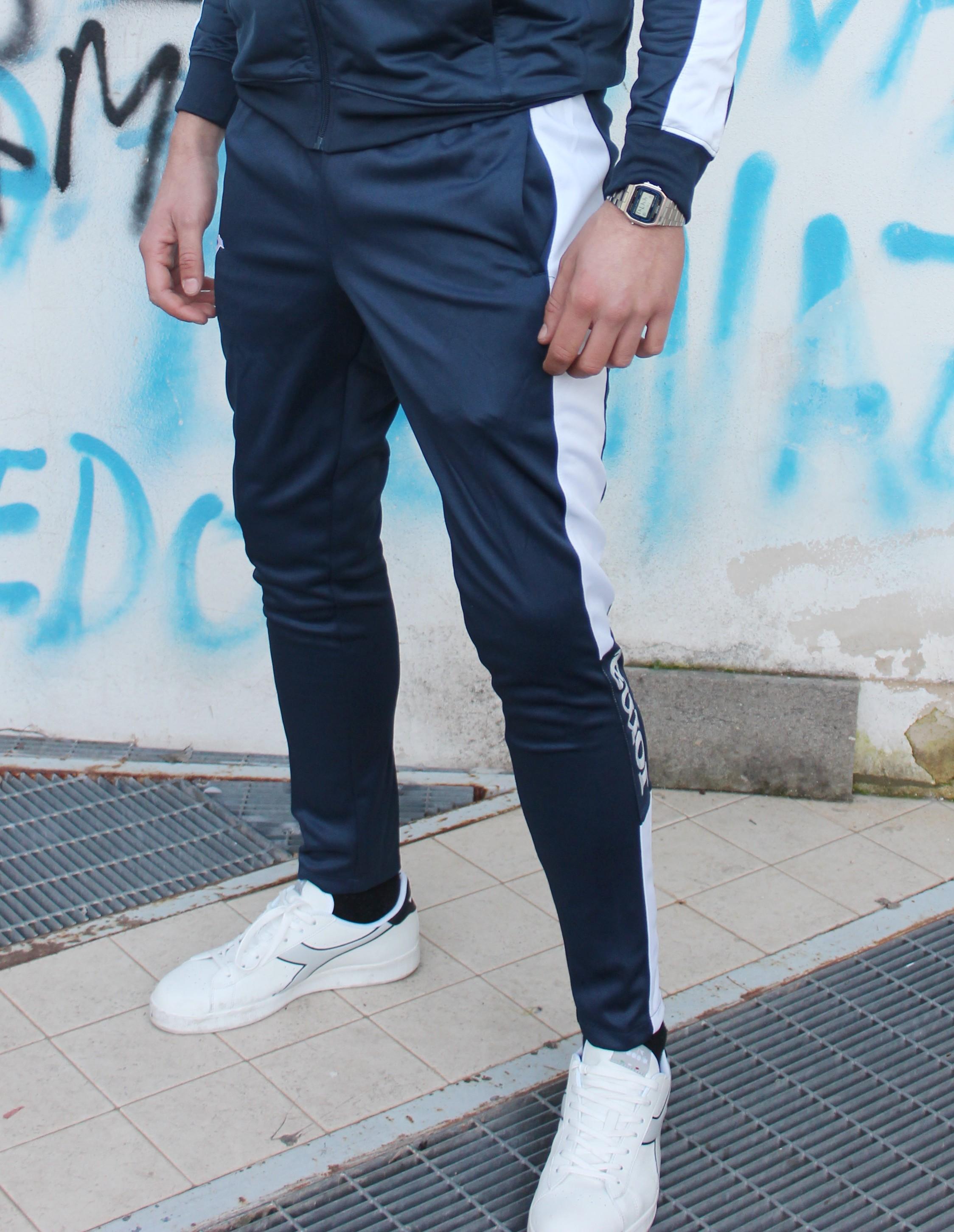 Joma Pantaloni tuta Pants Champion IV con tasche Uomo -Blu Bianco - 3020
