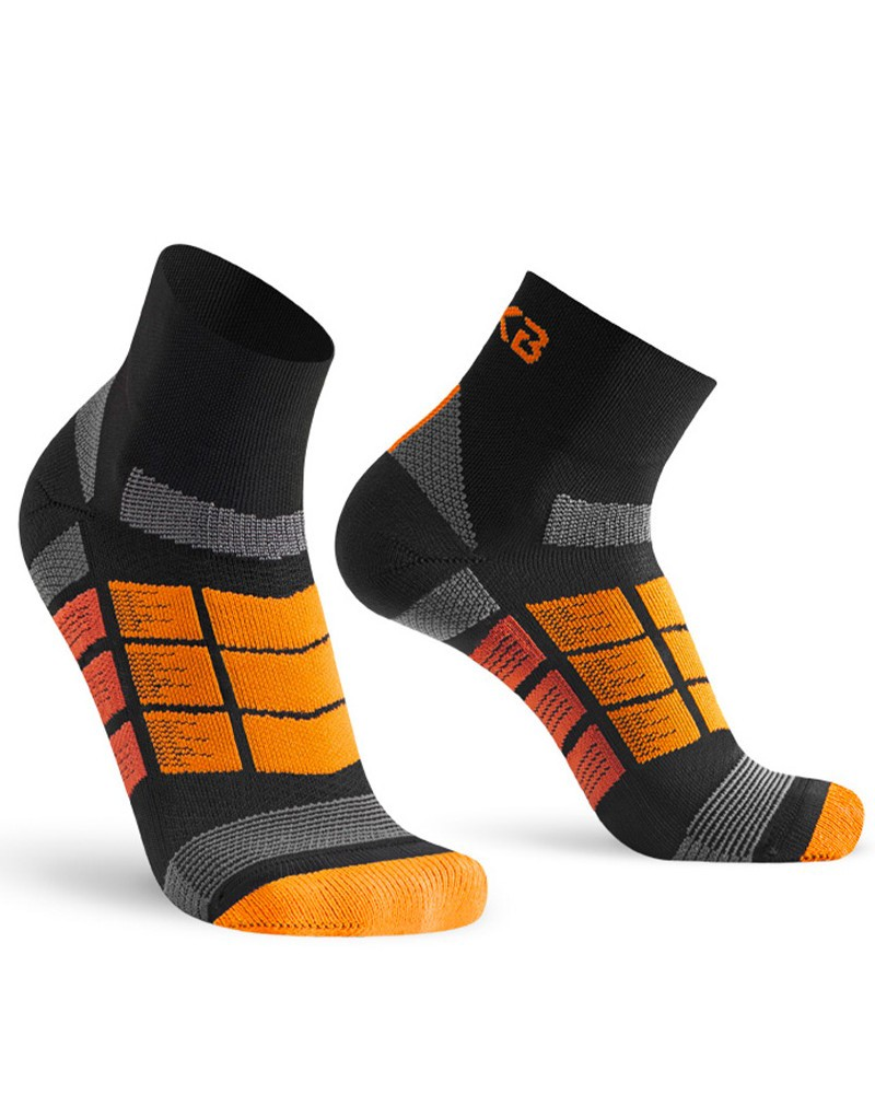 Oxyburn 1262 Levitate Short-Cut Calze Calzini Running Fitness Compressive -Nero Arancio - 0335