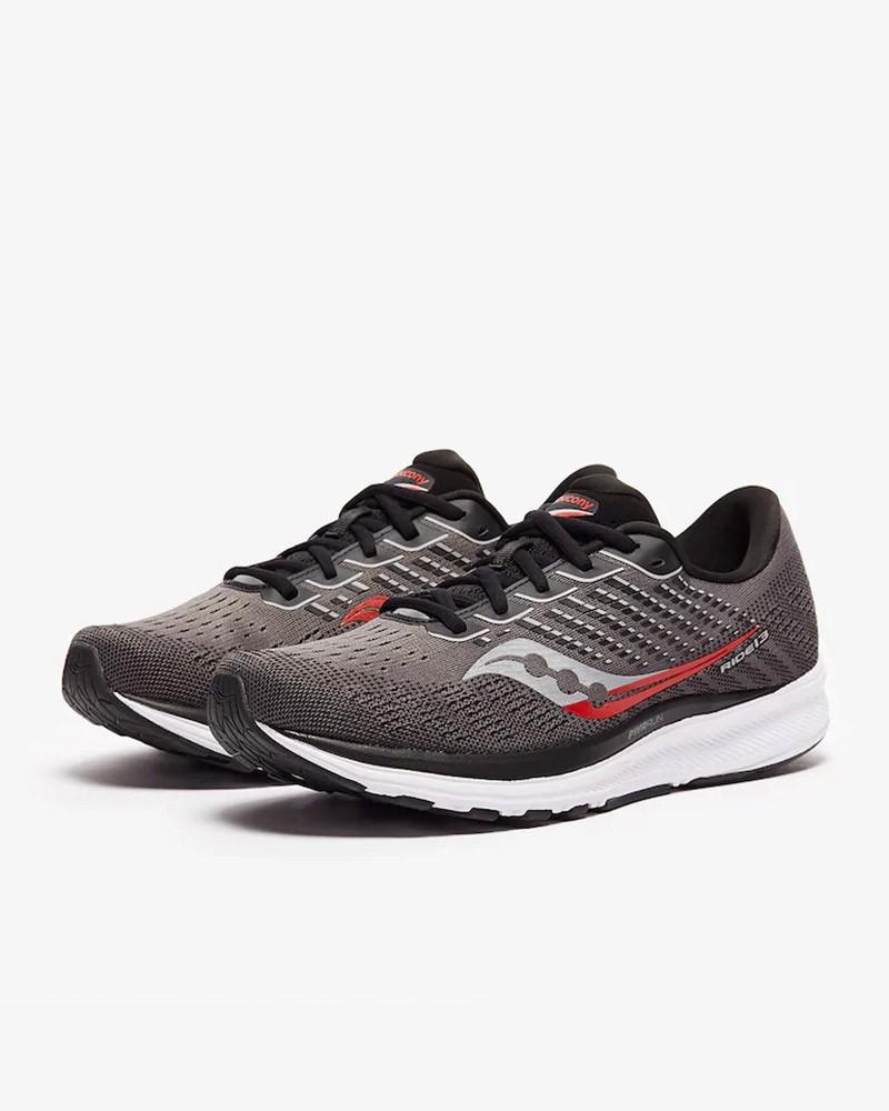 Scarpe Corsa Running Sneakers UOMO Saucony Grigio Rosso Ride 13 neutre 0