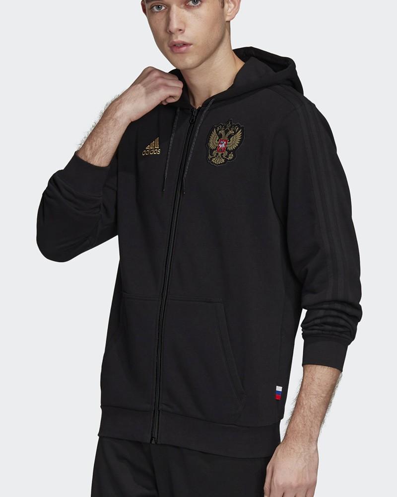 Russia RFU Adidas Giacca Tuta Sportiva Euro 2021 Hoodie Full Zip Nero Cotone 0