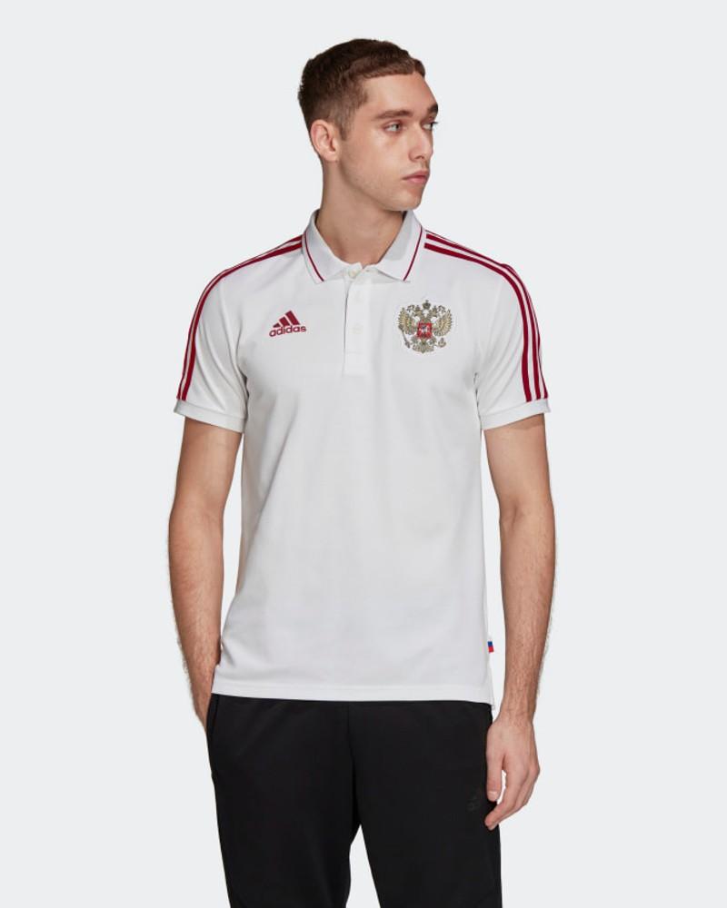 Russia Adidas Polo Maglia UOMO Bianco Cotone maniche corte 3-Stripes EURO 2021 0