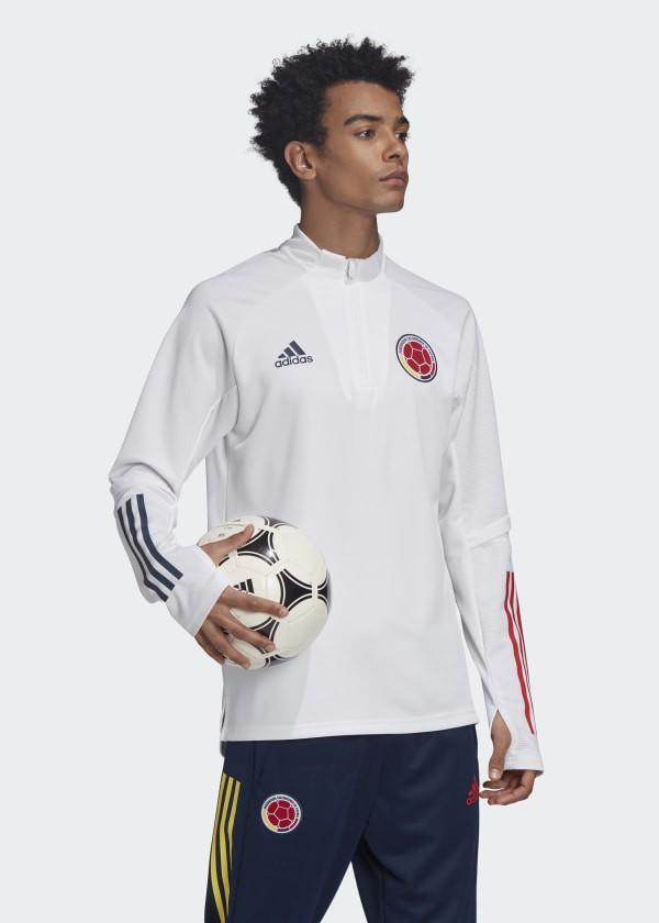 Colombia FCF Adidas Felpa Allenamento Training Sweatshirt Uomo Bianco 2020 0