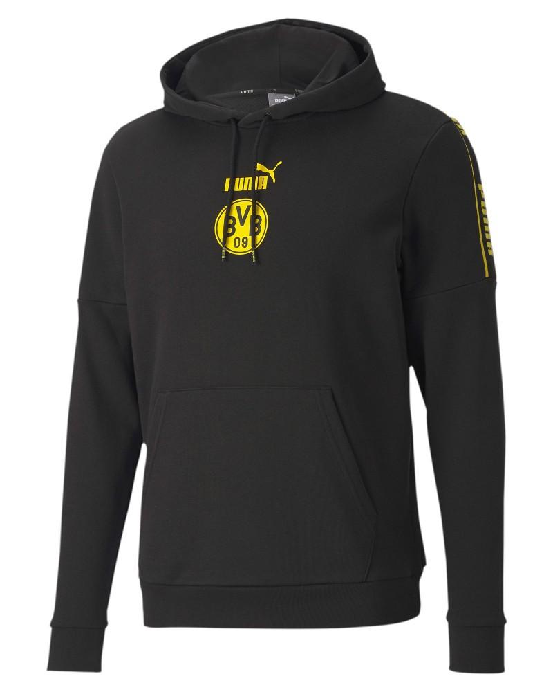 Borussia Dortmund BVB Puma Felpa Cappuccio Hoodie UOMO Nero Cotone con tasche 0