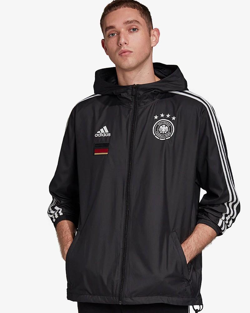 Germania DFB Adidas Giacca Vento pioggia Euro 2021 Cappuccio UOMO Nero 0